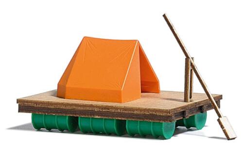 H0-Floß mit Zelt
