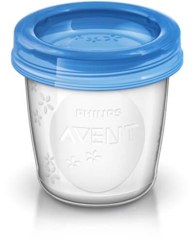 Philips Avent Aufbewahrungsbecher für Muttermilch (5 x 180ml Becher inkl. Deckel)