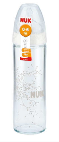 NUK New Classic Glas-Flasche, Silikon, 240 ml, 0 - 6 Monate