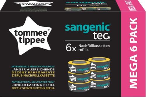 Sangenic TEC 6er Pack Nachfüllkassetten für Windeleimer Tommee Tippee Zitrus