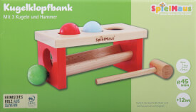 SpielMaus Holz Kugelklopfbank, 24 x 11 x 10 cm, Made in Germany