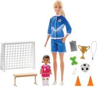 Mattel GLM47 Barbie Soccer Coach Puppen (blond Puppe / brünett Toddler)