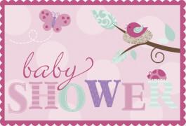 8 Einladungskarten Tweet Baby Pink